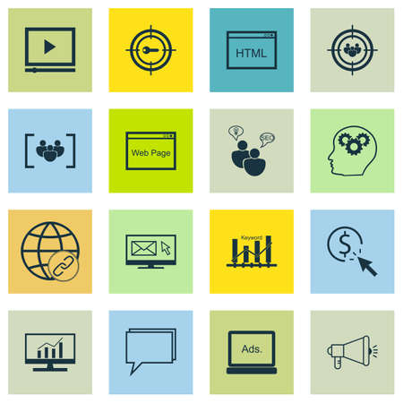 keywords link: Set Of SEO, Marketing And Advertising Icons On Video Advertising, Viral Marketing, Web Page And More.