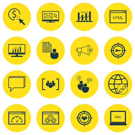 brief: Set Of SEO, Marketing And Advertising Icons On Client Brief, HTML Code, Page Speed And More. Illustration