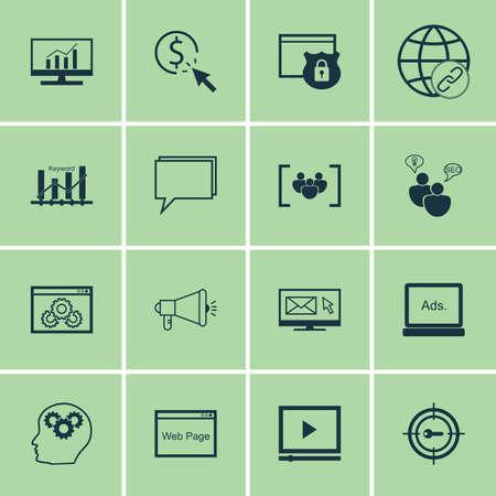 keyword: Set Of SEO, Marketing And Advertising Icons On Viral Marketing, Keyword Ranking, Comprehensive Analytics And More.