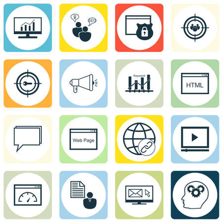 targeting: Set Of SEO, Marketing And Advertising Icons On Audience Targeting, Creativity, Email Marketing And More.