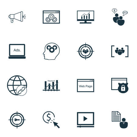 keyword: Set Of SEO, Marketing And Advertising Icons On Keyword Ranking, Video Advertising, Web Page And More. Illustration
