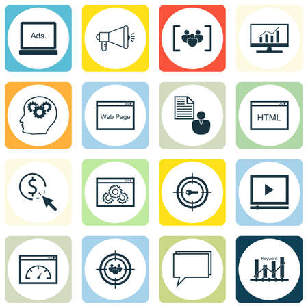 Set Of SEO, Marketing And Advertising Icons On Target Keywords, Viral Marketing, Video Advertising And More.