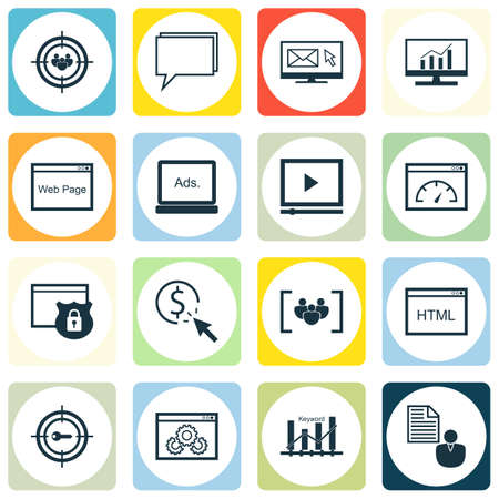 comprehensive: Set Of SEO, Marketing And Advertising Icons On Comprehensive Analytics, Page Speed, Web Page And More.
