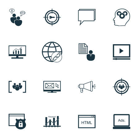 brief: Set Of SEO, Marketing And Advertising Icons On Creativity, Client Brief, SEO Consulting And More. Illustration