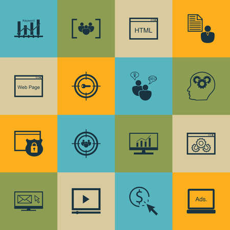keyword: Set Of SEO, Marketing And Advertising Icons On Keyword Ranking, Display Advertising, HTML Code And More. Illustration