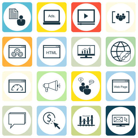 Set Of SEO, Marketing And Advertising Icons On HTML Code, Viral Marketing, Email Marketing And More.