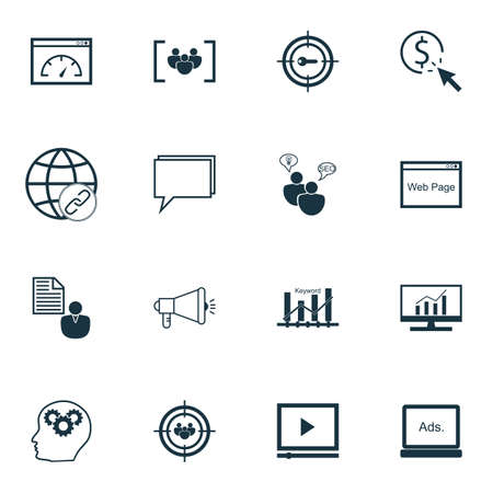 keyword: Set Of SEO, Marketing And Advertising Icons On Keyword Ranking, Creativity, Online Consulting And More. Illustration