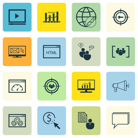 comprehensive: Set Of SEO, Marketing And Advertising Icons On Focus Group, SEO Consulting, Comprehensive Analytics And More.