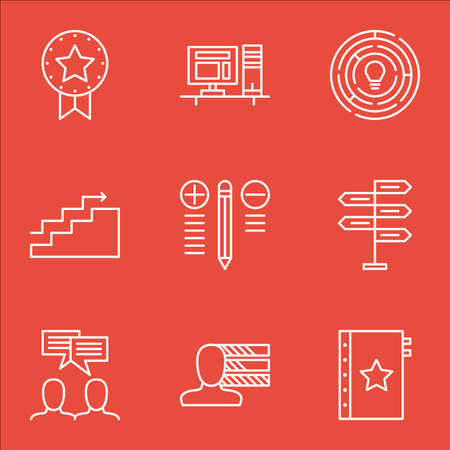 personality development: Set Of Project Management Icons On Team Meeting, Personality, Quality Management And More.