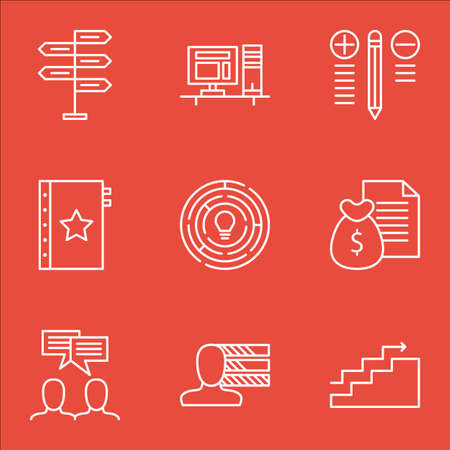 revenue: Set Of Project Management Icons On Workspace, Money Revenue, Quality Management And More.