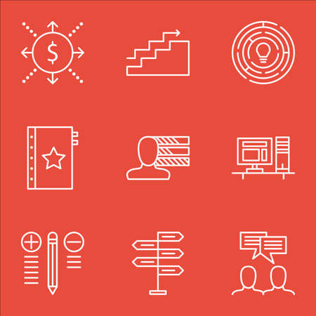 personality: Set Of Project Management Icons On Cash Flow, Personality, Creativity And More. Illustration