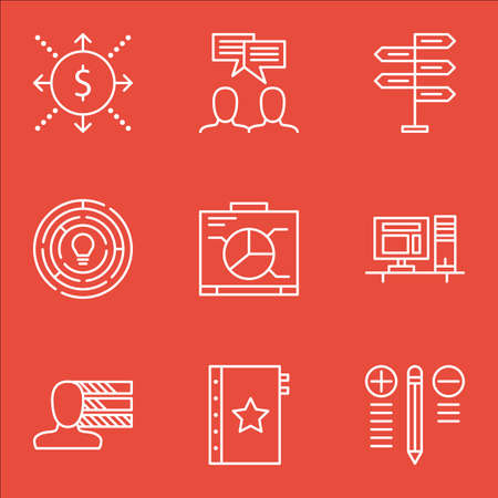 personality: Set Of Project Management Icons On Workspace, Personality, Graph And More.