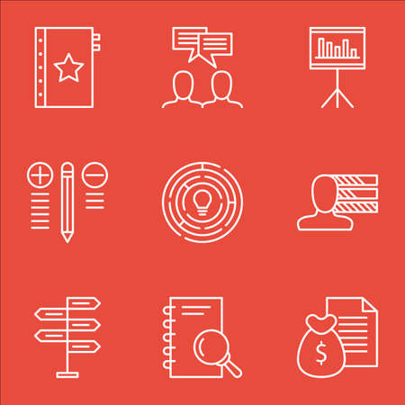 personality development: Set Of Project Management Icons On Best Solution, Quality Management, Creativity And More. Illustration