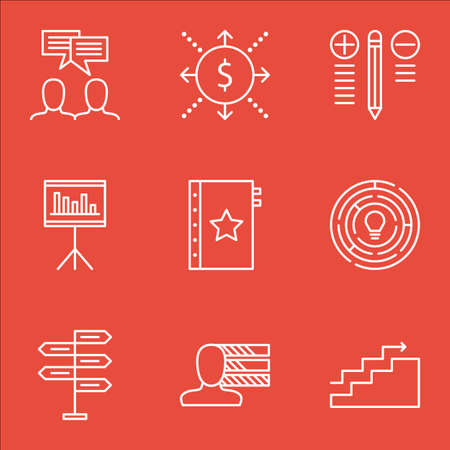 personality development: Set Of Project Management Icons On Best Solution, Quality Management, Statistics And More.