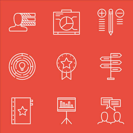 personality development: Set Of Project Management Icons On Award, Statistics, Quality Management And More