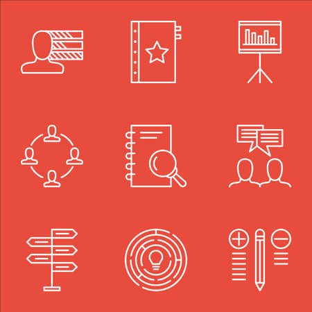 personality: Set Of Project Management Icons On Personality, Creativity, Teamwork And More. Illustration