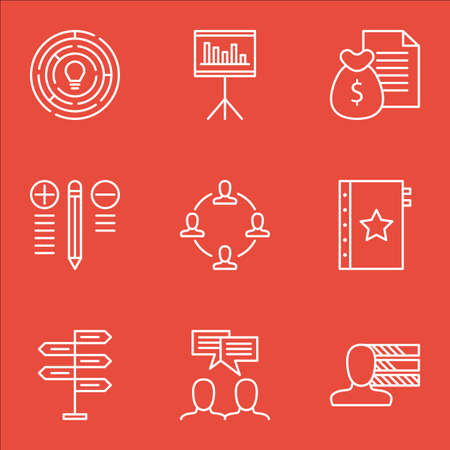 personality development: Set Of Project Management Icons On Personality, Creativity, Money Revenue And More. Illustration
