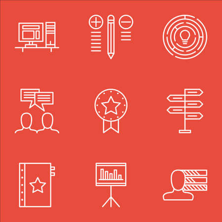 personality: Set Of Project Management Icons On Personality, Award, Decision Making And More. Illustration