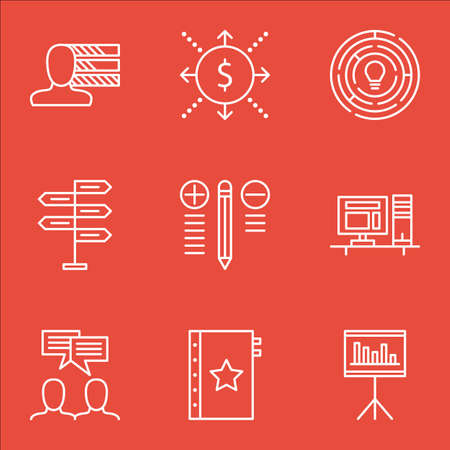 personality development: Set Of Project Management Icons On Personality, Best Solution, Workspace And More.