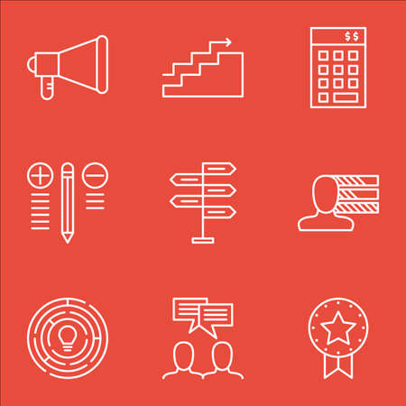 personality: Set Of Project Management Icons On Investment, Personality, Charts And More. Illustration