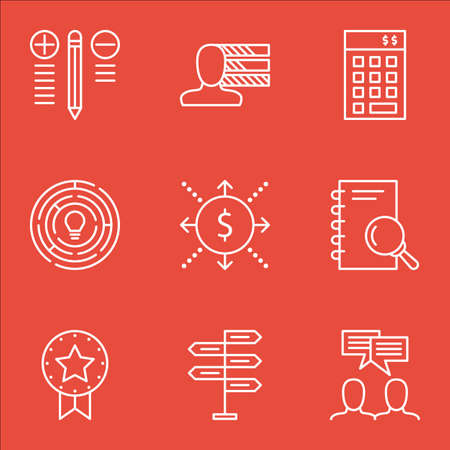 personality development: Set Of Project Management Icons On Best Solution, Award, Creativity And More.