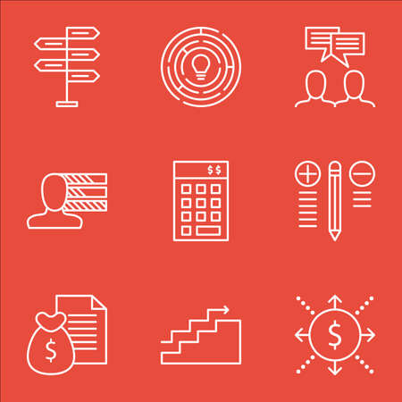 revenue: Set Of Project Management Icons On Charts, Money Revenue, Decision Making And More. Illustration