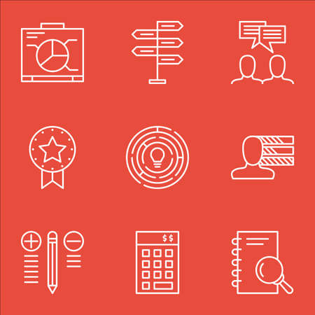 personality development: Set Of Project Management Icons On Graph, Creativity, Research And More.