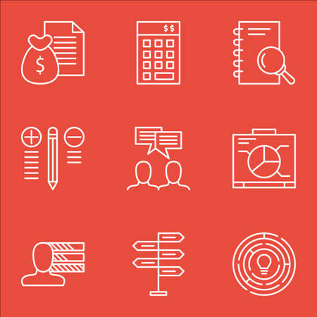 personality: Set Of Project Management Icons On Graph, Personality, Research And More.