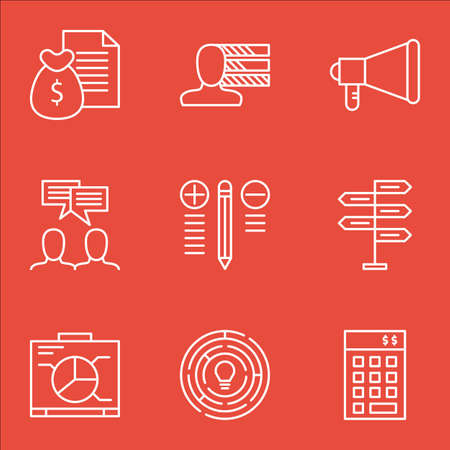 more money: Set Of Project Management Icons On Money Revenue, Graph, Decision Making And More. Illustration