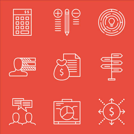 personality development: Set Of Project Management Icons On Decision Making, Team Meeting, Investment And More.