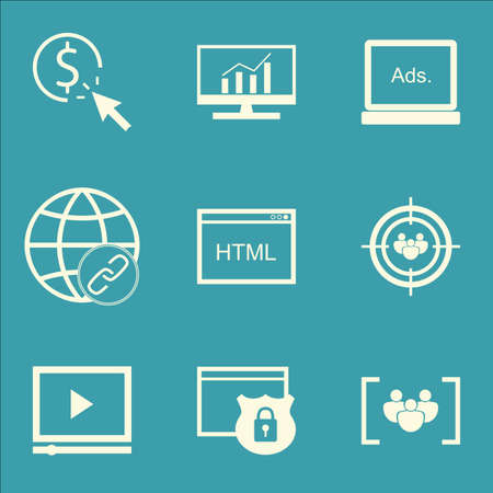 targeting: Set Of SEO, Marketing And Advertising Icons On HTML Code, Audience Targeting, Focus Group And More.