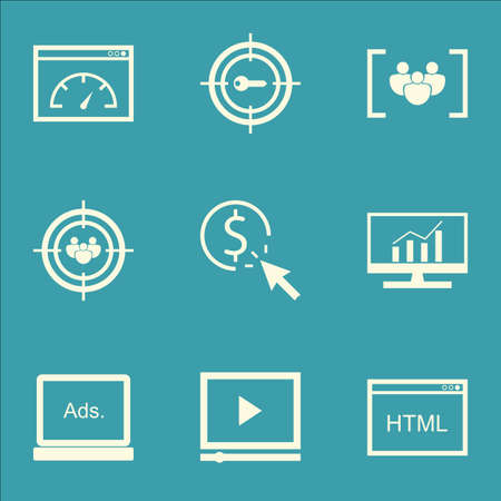 comprehensive: Set Of SEO, Marketing And Advertising Icons On Target Keywords, Comprehensive Analytics, Video Advertising And More.