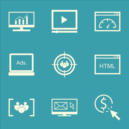 targeting: Set Of SEO, Marketing And Advertising Icons On Page Speed, Audience Targeting, Video Advertising And More.