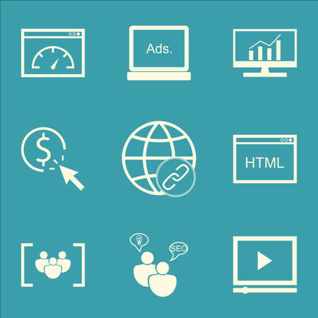 comprehensive: Set Of SEO, Marketing And Advertising Icons On Focus Group, Comprehensive Analytics, Display Advertising And More.