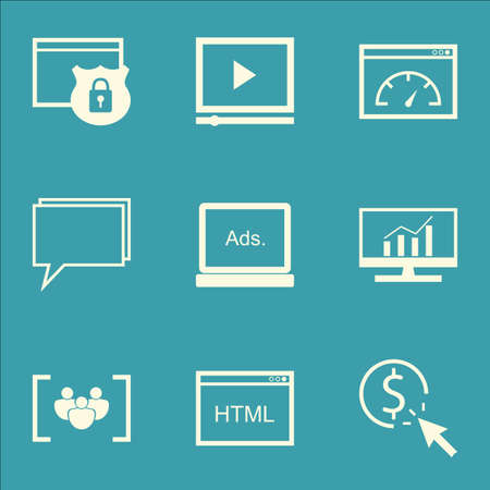 comprehensive: Set Of SEO, Marketing And Advertising Icons On Pay Per Click, Online Consulting, Comprehensive Analytics And More.