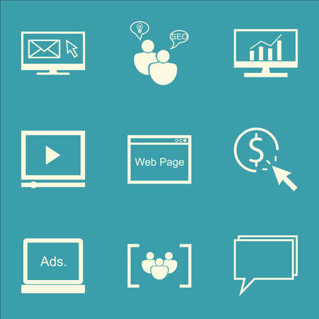 comprehensive: Set Of SEO, Marketing And Advertising Icons On Comprehensive Analytics, Pay Per Click, SEO Consulting And More. Illustration