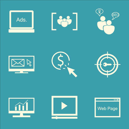 comprehensive: Set Of SEO, Marketing And Advertising Icons On Comprehensive Analytics, Web Page, Video Advertising And More.