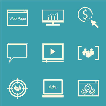 comprehensive: Set Of SEO, Marketing And Advertising Icons On Display Advertising, Comprehensive Analytics, Website Optimization And More.