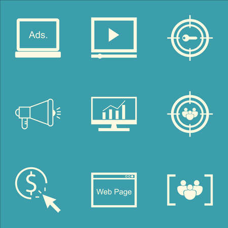 comprehensive: Set Of SEO, Marketing And Advertising Icons On Viral Marketing, Web Page, Comprehensive Analytics And More.