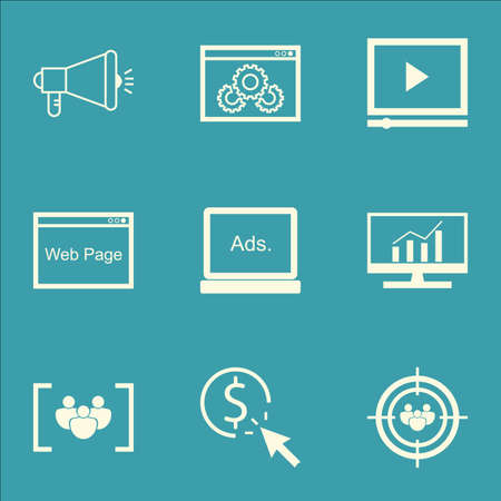 targeting: Set Of SEO, Marketing And Advertising Icons On Viral Marketing, Audience Targeting, Web Page And More. Illustration