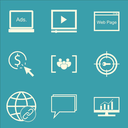 comprehensive: Set Of SEO, Marketing And Advertising Icons On Comprehensive Analytics, Video Advertising, Display Advertising And More.