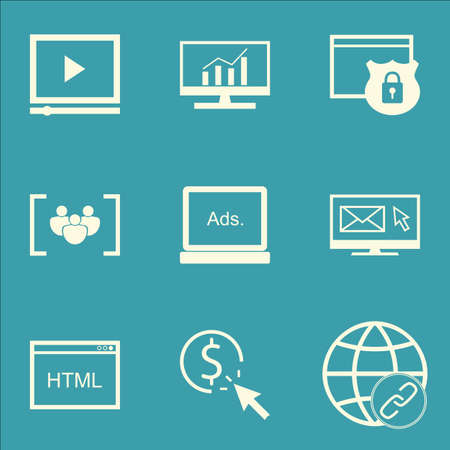 link building: Set Of SEO, Marketing And Advertising Icons On Focus Group, Pay Per Click, Link Building And More.