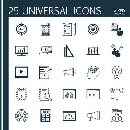 categories: Universal Icons Set of Mixed Categories. Contains Icons on Topics Such as Audience Targeting, Promotion, Website Optimization and more. Icons Can Be Used For Web, Mobile and Infographic Design.