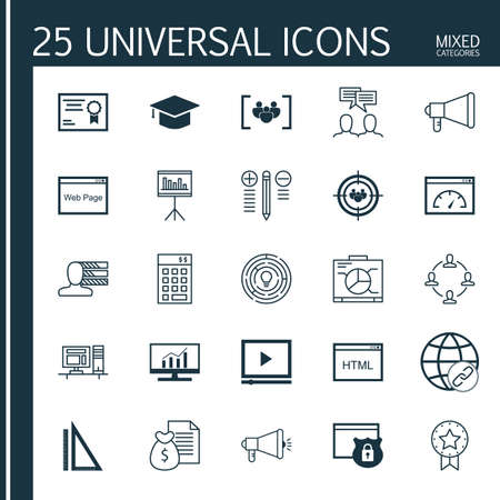 categories: Universal Icons Set of Mixed Categories. Contains Icons on Topics Such as Diploma, Link Building, Comprehensive Analytics and more. Icons Can Be Used For Web, Mobile and Infographic Design.