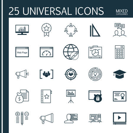 categories: Universal Icons Set of Mixed Categories. Contains Icons on Topics Such as Audience Targeting, Link Building, Focus Group and more. Icons Can Be Used For Web, Mobile and Infographic Design.
