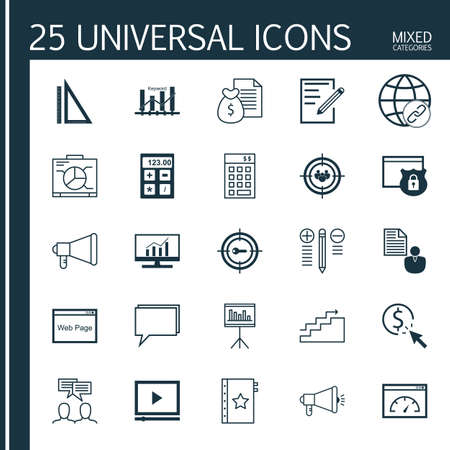 categories: Universal Icons Set of Mixed Categories. Contains Icons on Topics Such as Viral Marketing, Video Advertising, Investment and more. Icons Can Be Used For Web, Mobile and Infographic Design.