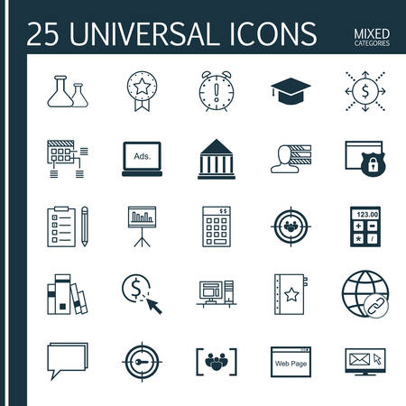 cash book: Universal Icons Set of Mixed Categories. Contains Icons on Topics Such as Audience Targeting, Deadline, Book and more. Icons Can Be Used For Web, Mobile and Infographic Design.