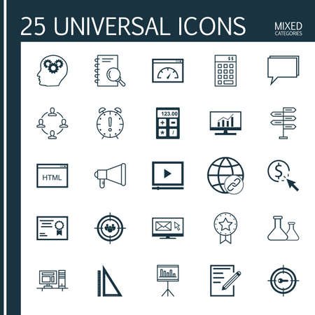 categories: Universal Icons Set of Mixed Categories. Contains Icons on Topics Such as Flask, Online Consulting, Rulers and more. Icons Can Be Used For Web, Mobile and Infographic Design.