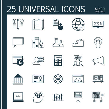 categories: Universal Icons Set of Mixed Categories. Contains Icons on Topics Such as Charts, Workspace, Page Speed and more. Icons Can Be Used For Web, Mobile and Infographic Design. Illustration