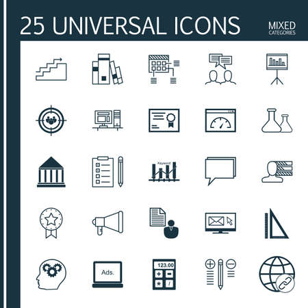 categories: Universal Icons Set of Mixed Categories. Contains Icons on Topics Such as Email Marketing, Statistics, Charts and more. Icons Can Be Used For Web, Mobile and Infographic Design.